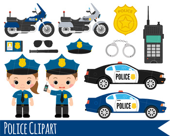 Kids Police Clipart, Girl and Boy Police Clipart, Police Car & bike clipart.