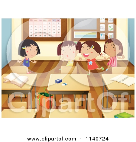 Girl In Classroom Clipart.
