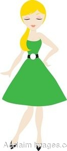 Woman In Green Dress With Balloons Clipart.