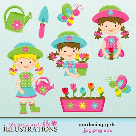 Gardening Girls Cute Digital Clipart, Garden Clip Art.