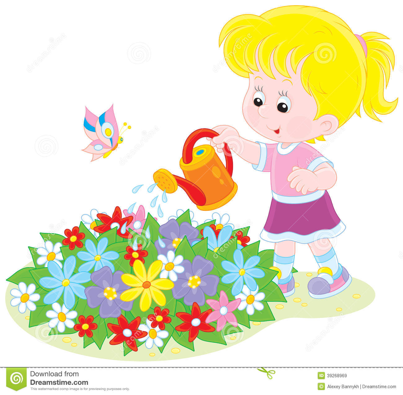 Girl Gardening Clipart.