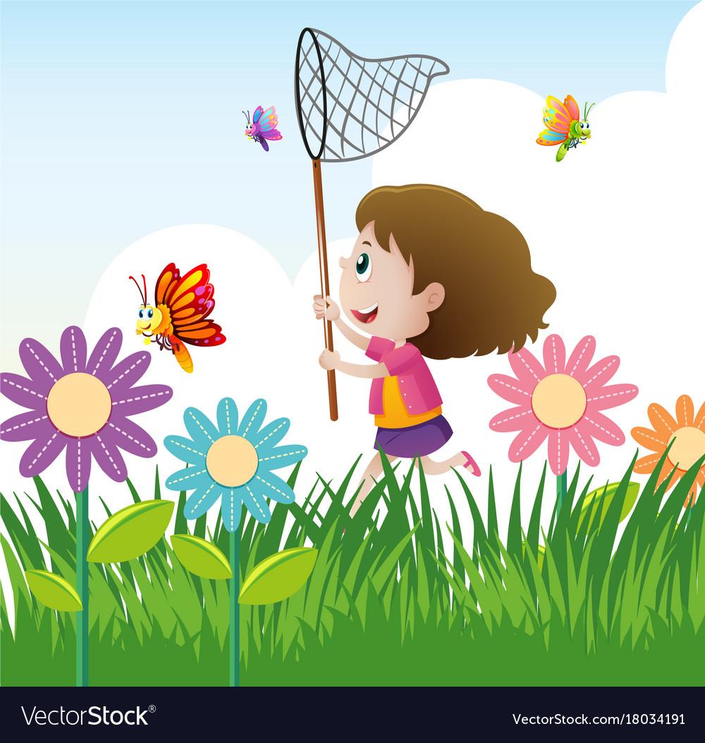 Little girl catching butterflies in garden.