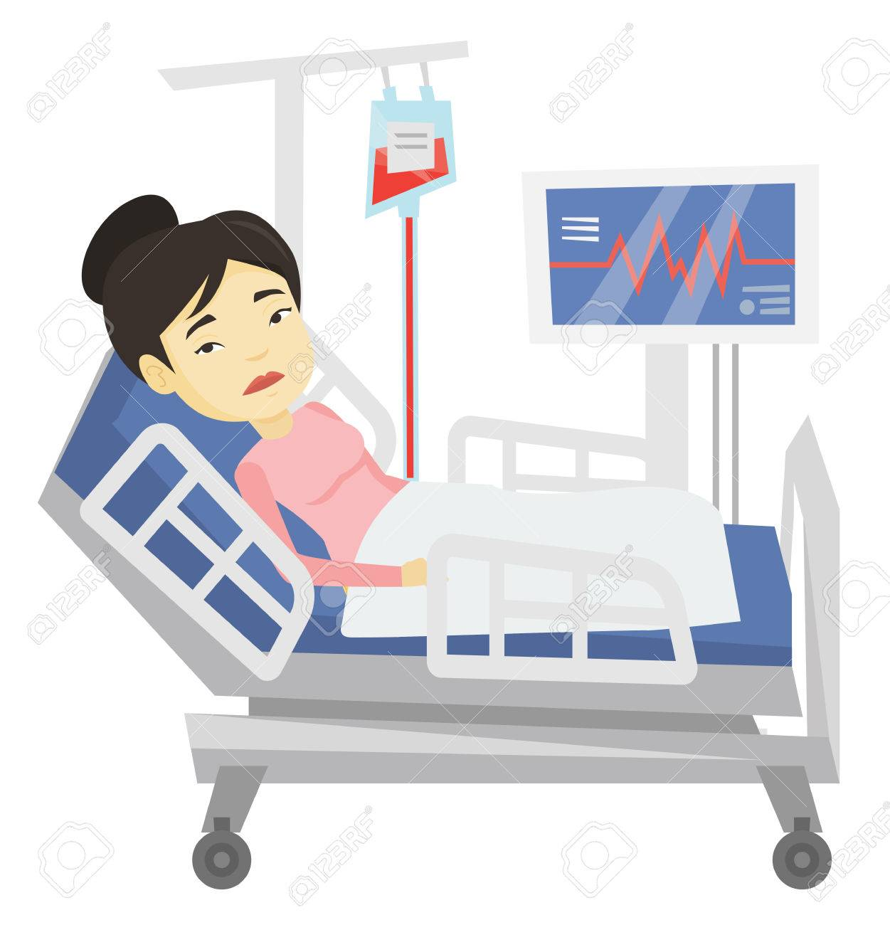 Woman lying in hospital bed vector illustration..