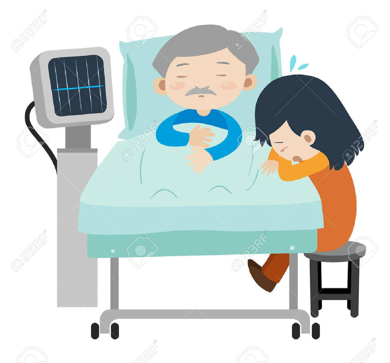 Dead man on hospital bed and girl crying illustration.