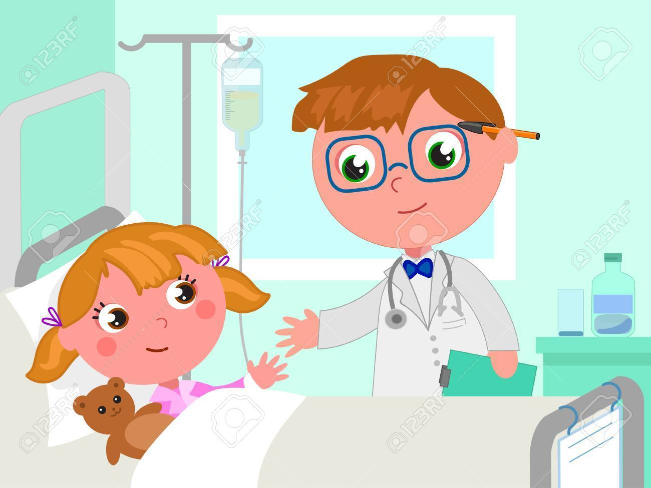 Doctor and girl in hospital bed vector » Clipart Portal.