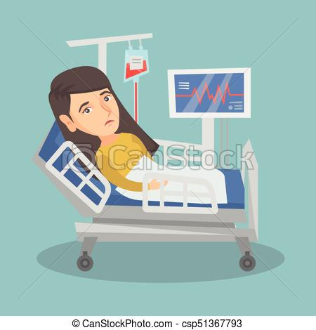 Young caucasian woman lying in hospital bed..