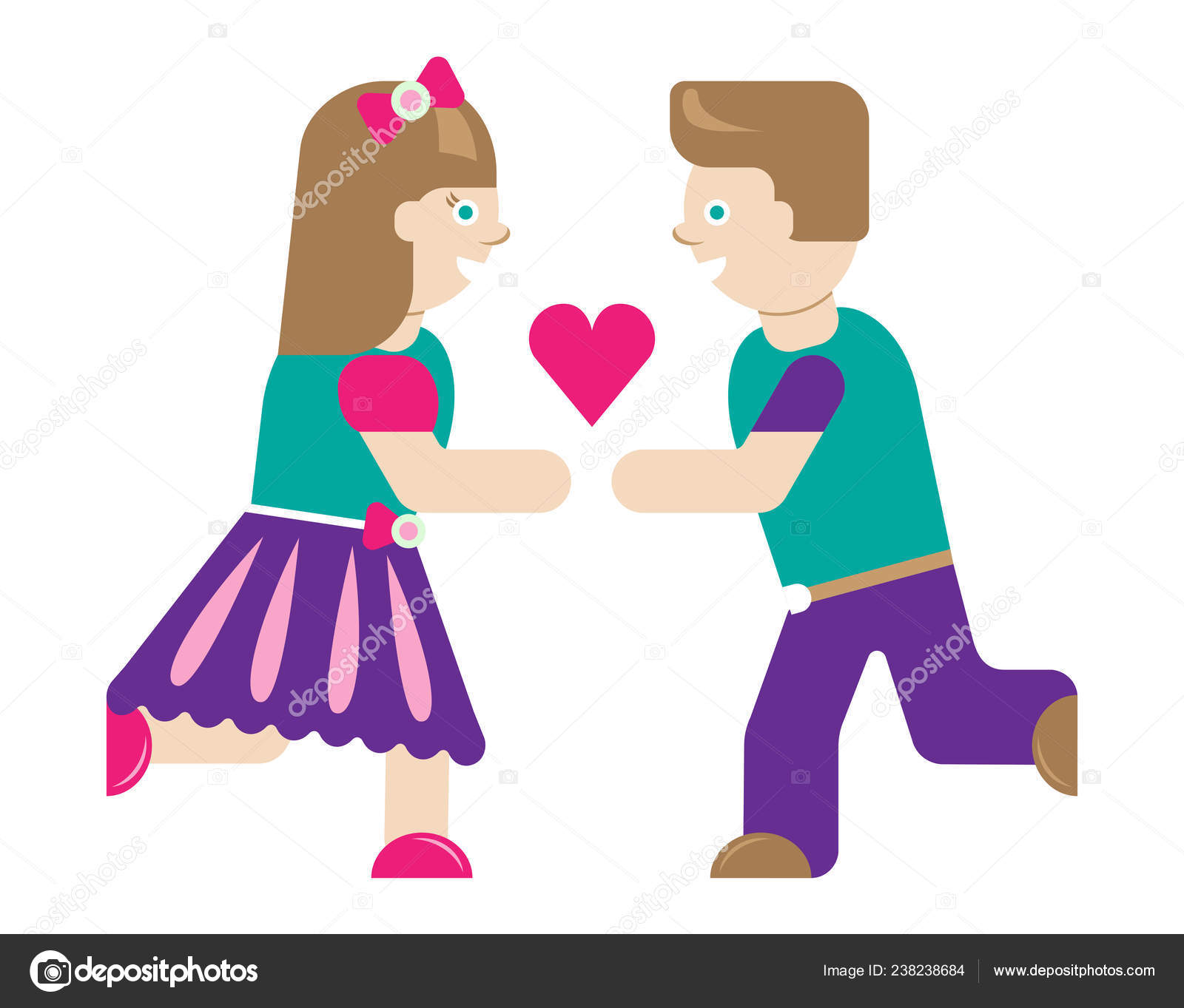 Clipart: girl and boy.