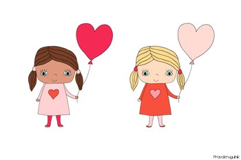 Cute girls clipart, Valentine love clip art, Children set, African American  kids.