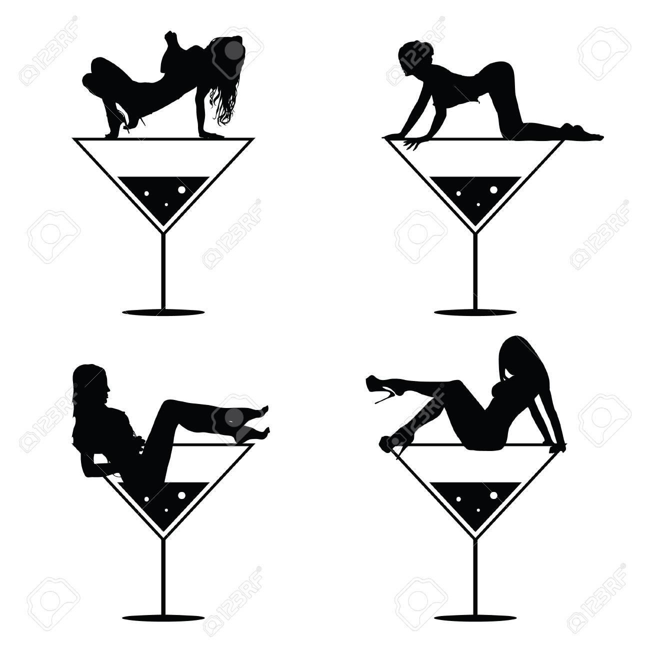 Girl In Martini Glass Silhouette.