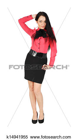 Stock Image of cute girl wearing skirt and red shirt stands.