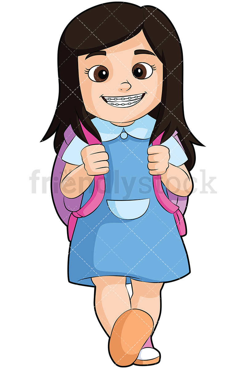 Little Girl With Braces Going To School.