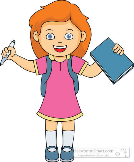 Clipart girl at school.