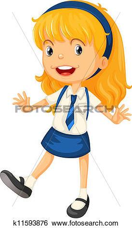 Clip Art of a girl in school uniform k11593876.