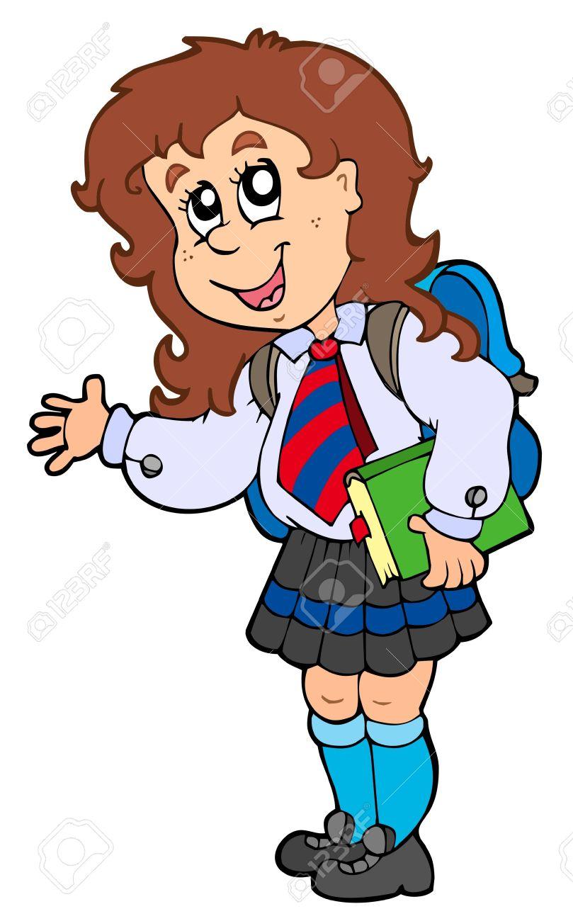 Cartoon Girl In School Uniform Royalty Free Cliparts, Vectors, And.