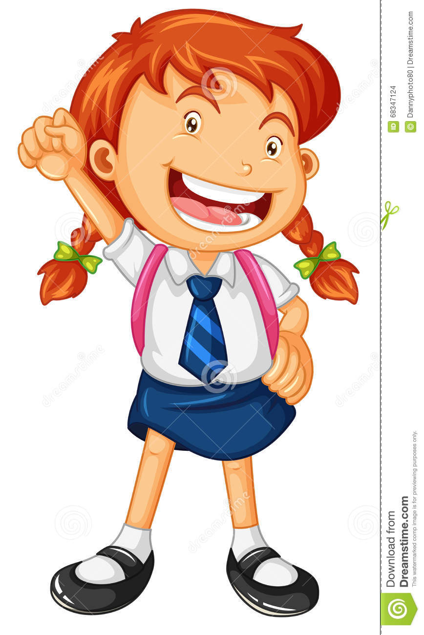 Happy Girl In School Uniform Stock Vector.