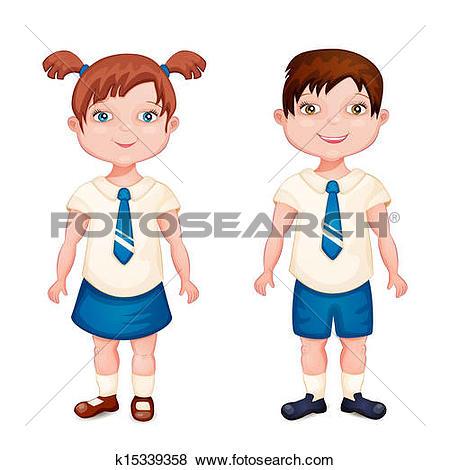 Clip Art of Boy and girl in school uniform k15339358.