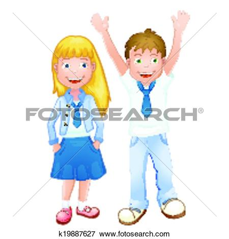 Clip Art of Boy and girl in school uniform k19887627.