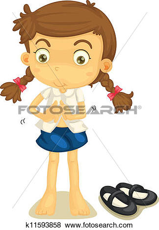 Clip Art of a girl in school uniform k11593858.
