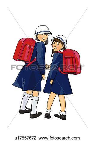 Clip Art of Portrait of Japanese girls in school uniform, rear.