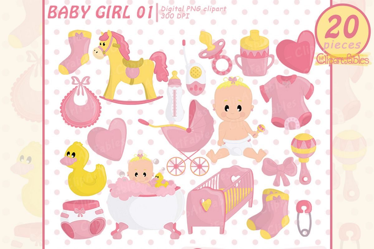 Cute baby girl shower party clipart, pink girl birthday art.