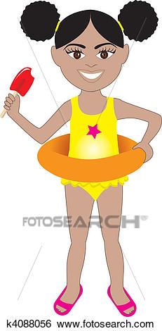 Afro Girl Swimsuit Clip Art.