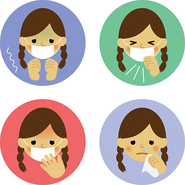 Cute Girl Sick Cold Clip Art, Vector Images & Illustrations.