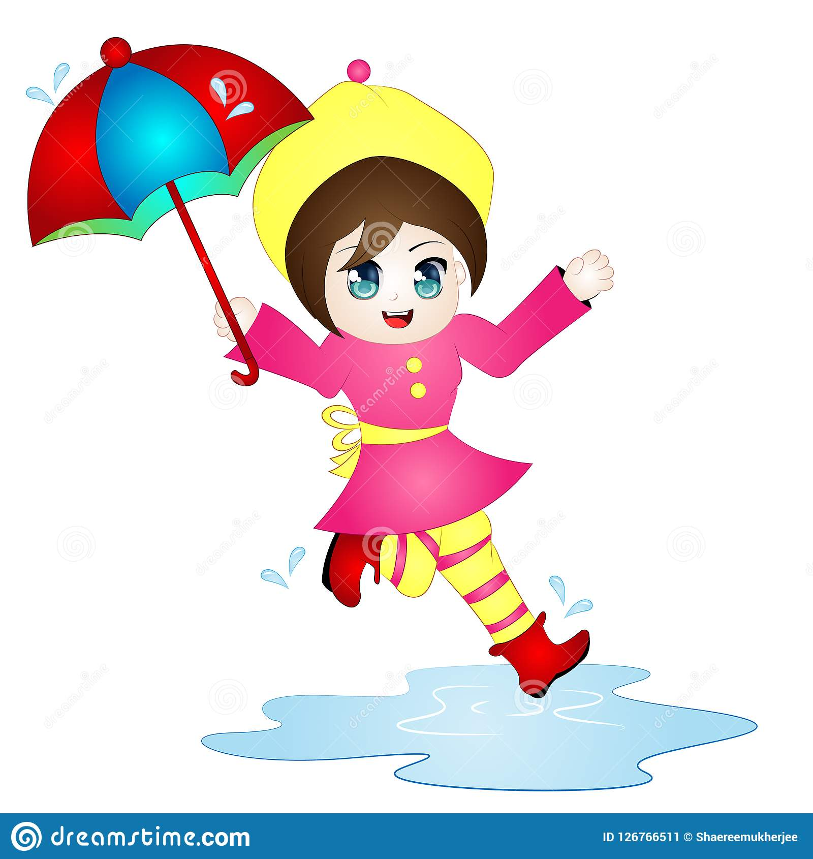 Vector Cartoon Girl Jumping In Puddle Stock Vector.