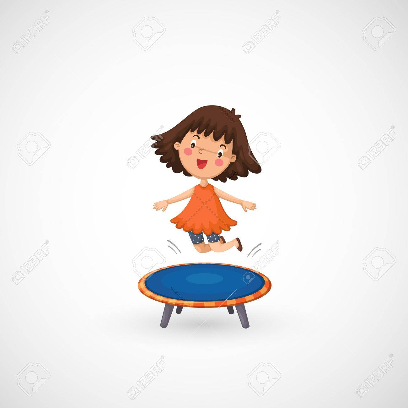 illustration of isolated a girl jumping on a trampoline.