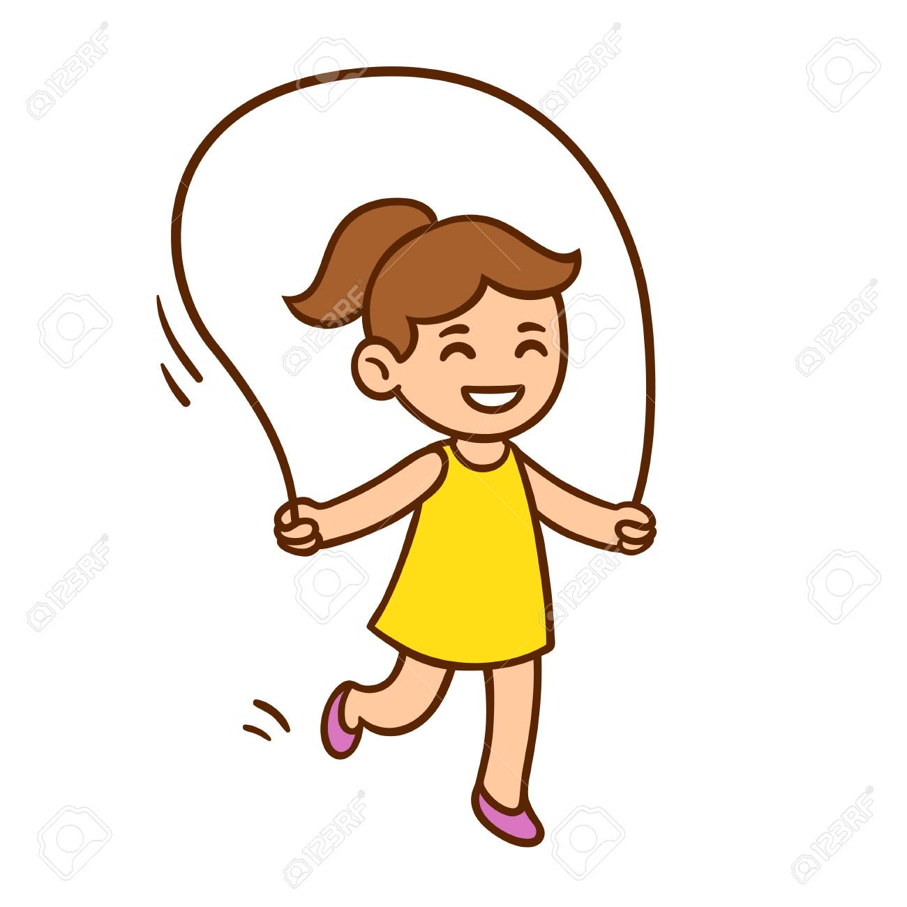 Vector illustration of cute cartoon little girl jumping rope.