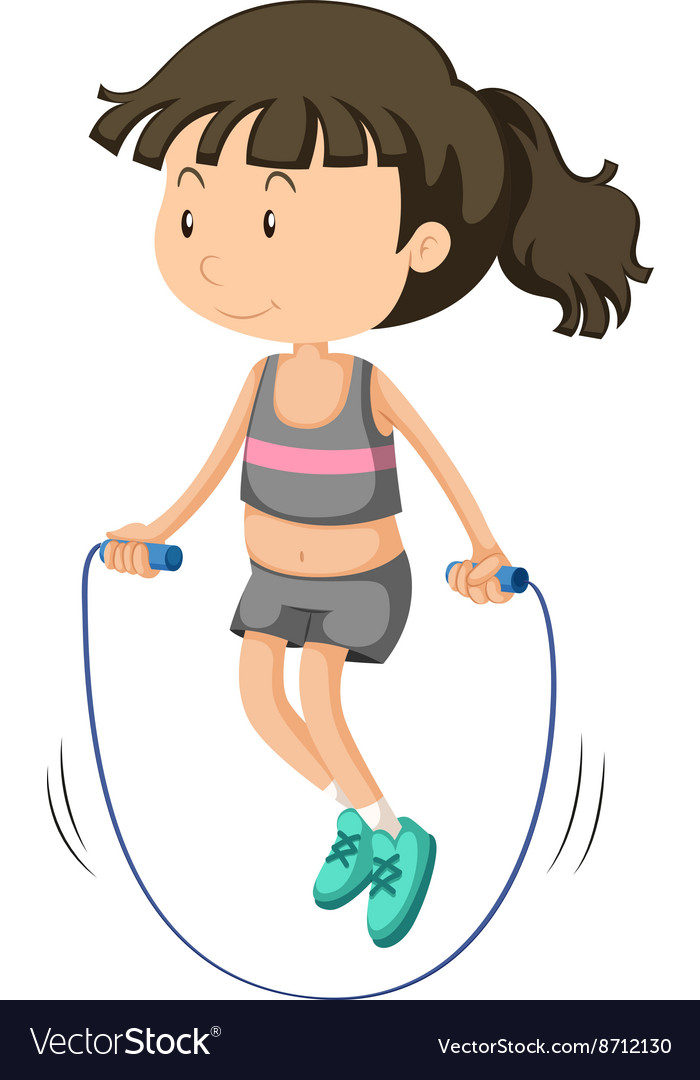 Girl jumping rope alone.