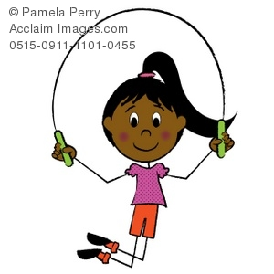 Clip Art Illustration of a Hispanic Stick Girl Skipping Rope.