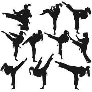 Karate Girl Silhouette Cuttable Design Cut File. Vector, Clipart.