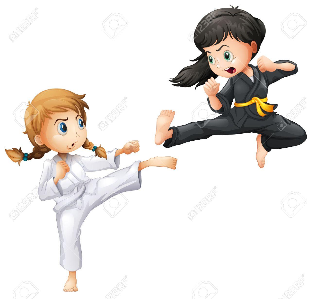 Illustration of girls doing karate.