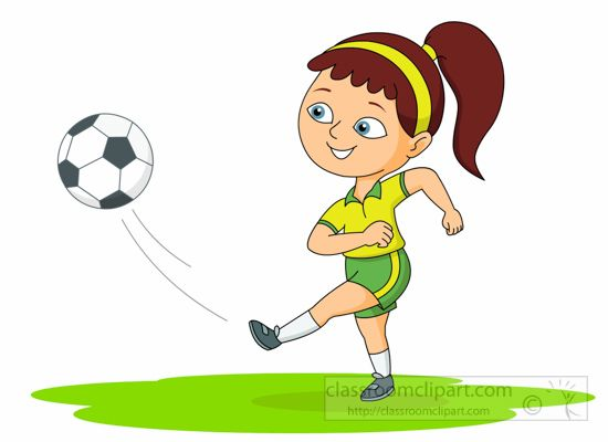 Girl Playing Soccer Clipart.