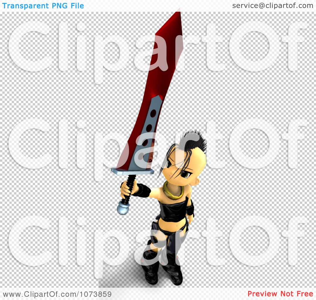 Clipart 3d Punk Knight Girl Holding A Sword 3.