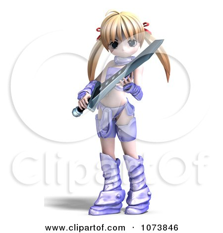Clipart 3d Blond Knight Girl Holding A Sword 5.