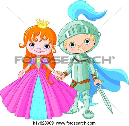 Clip Art of Medieval Lady and Knight k17828909.