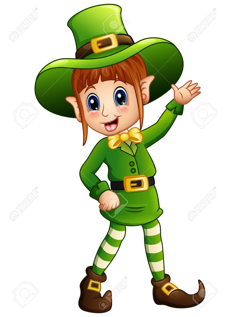 Cartoon girl leprechaun waving.