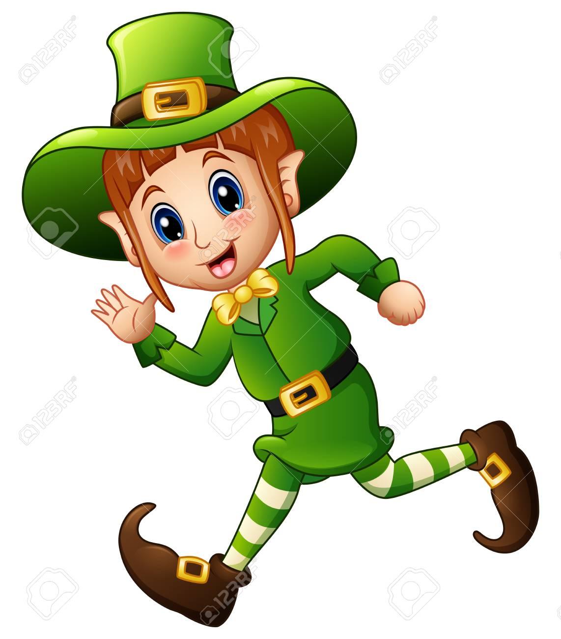 Cute cartoon girl Leprechaun running.