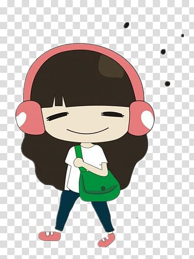 Girl listening to music transparent background PNG clipart.