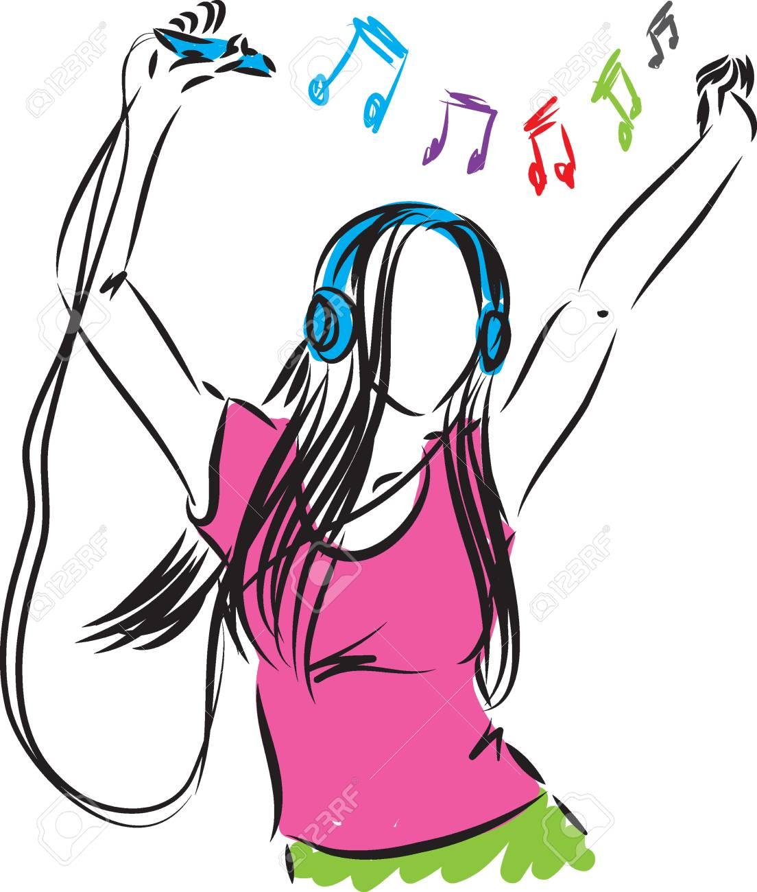 lady girl listening music illustration.