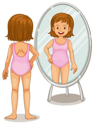 Girl looking at mirror.