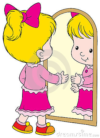 Child Looking In Mirror Clipart.