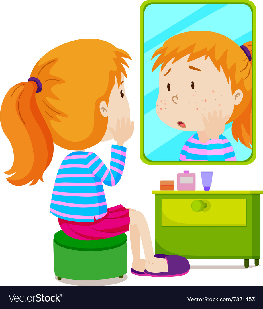 Girl with measels looking at mirror.