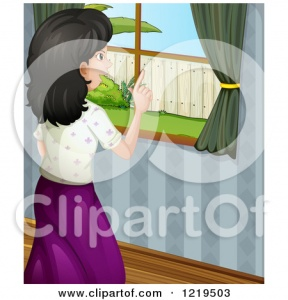 Girl Looking Out The Window Clipart.