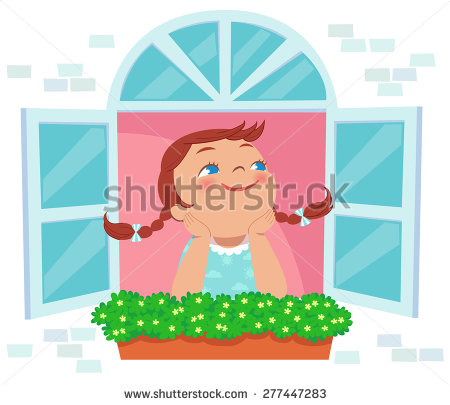 Open Window Child Stock Images, Royalty.