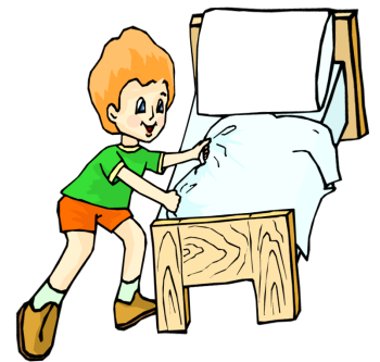 Girl Making Bed Clipart.