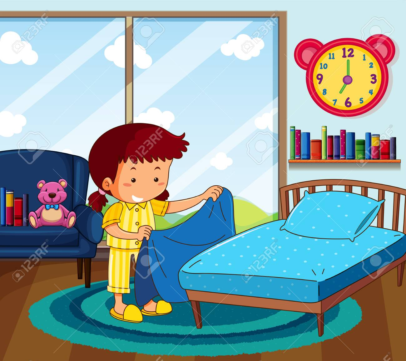 Girl in yellow pajamas making bed in bedroom illustration.