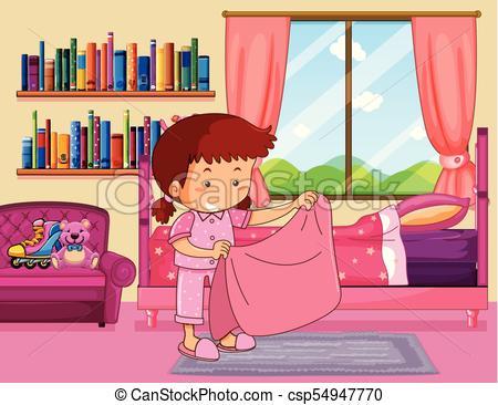 Girl making bed in bedroom.