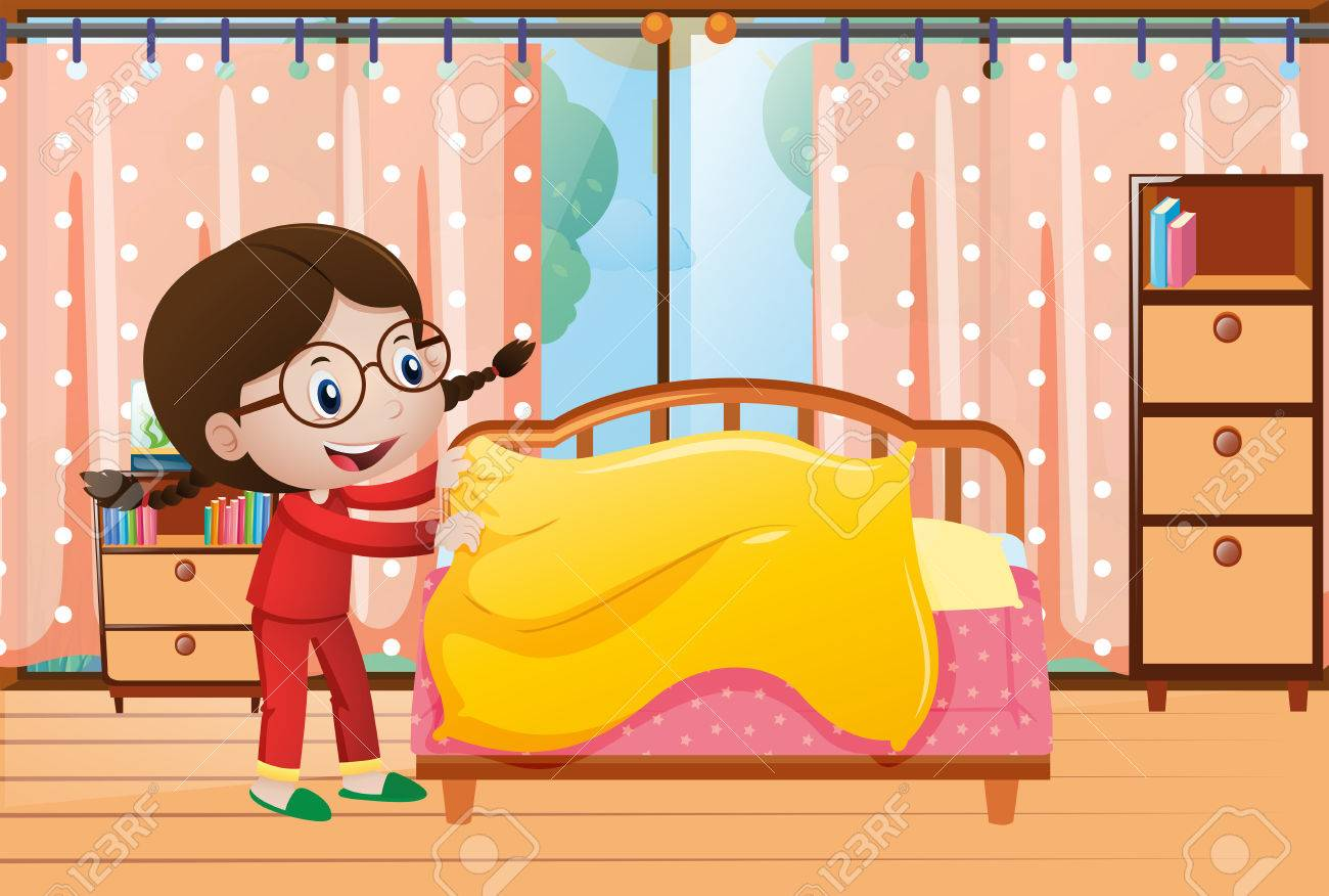 Little girl making bed in bedroom illustration.